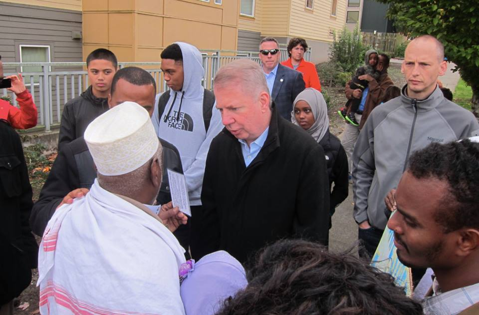 City of Seattle Mayor Ed Murray and SDOT Director Scott Kubly meet with Community Member during the November 1st Vigil. Photo: Jawara O'Connor