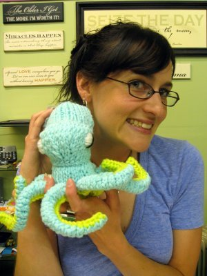 """Mary Clymer with hand crafted creation """"Crystal the Octopus."""" Photo Credit: Mary Clymer"""