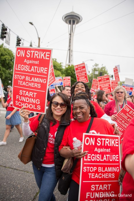 Teachers at yesterday's march, advocating for increased funding towards state schools.