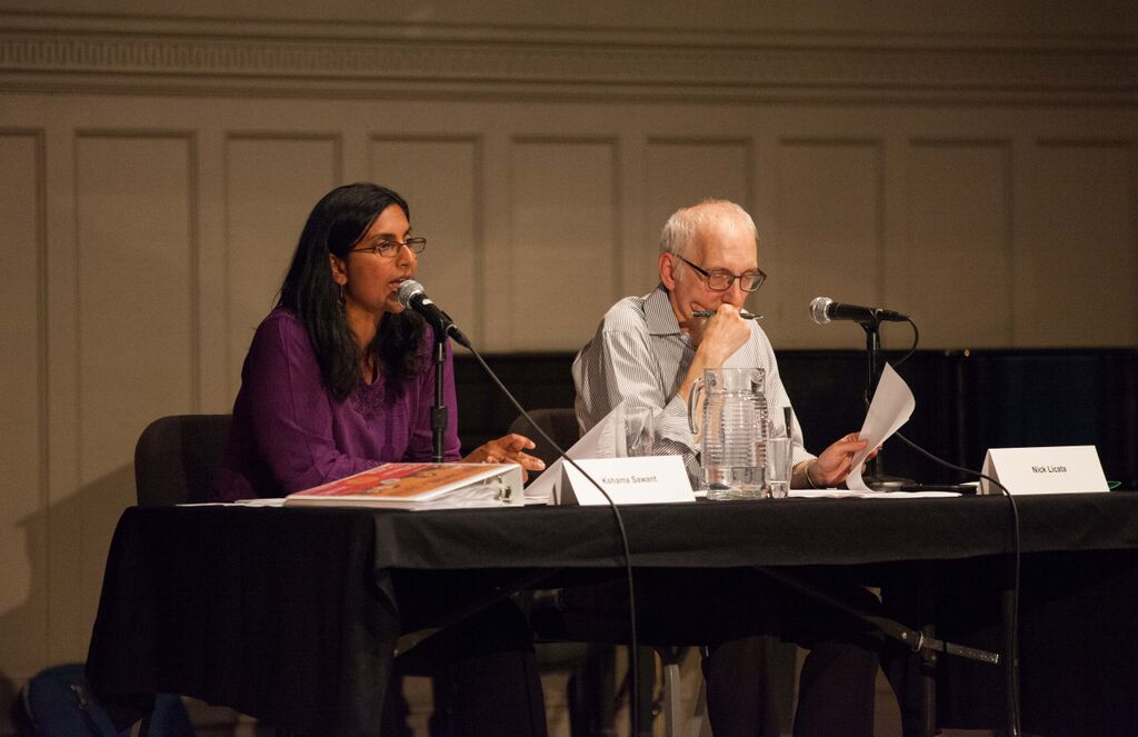 Seattle Councilmembers Kshama Sawant and Nick Licata respond to a question.