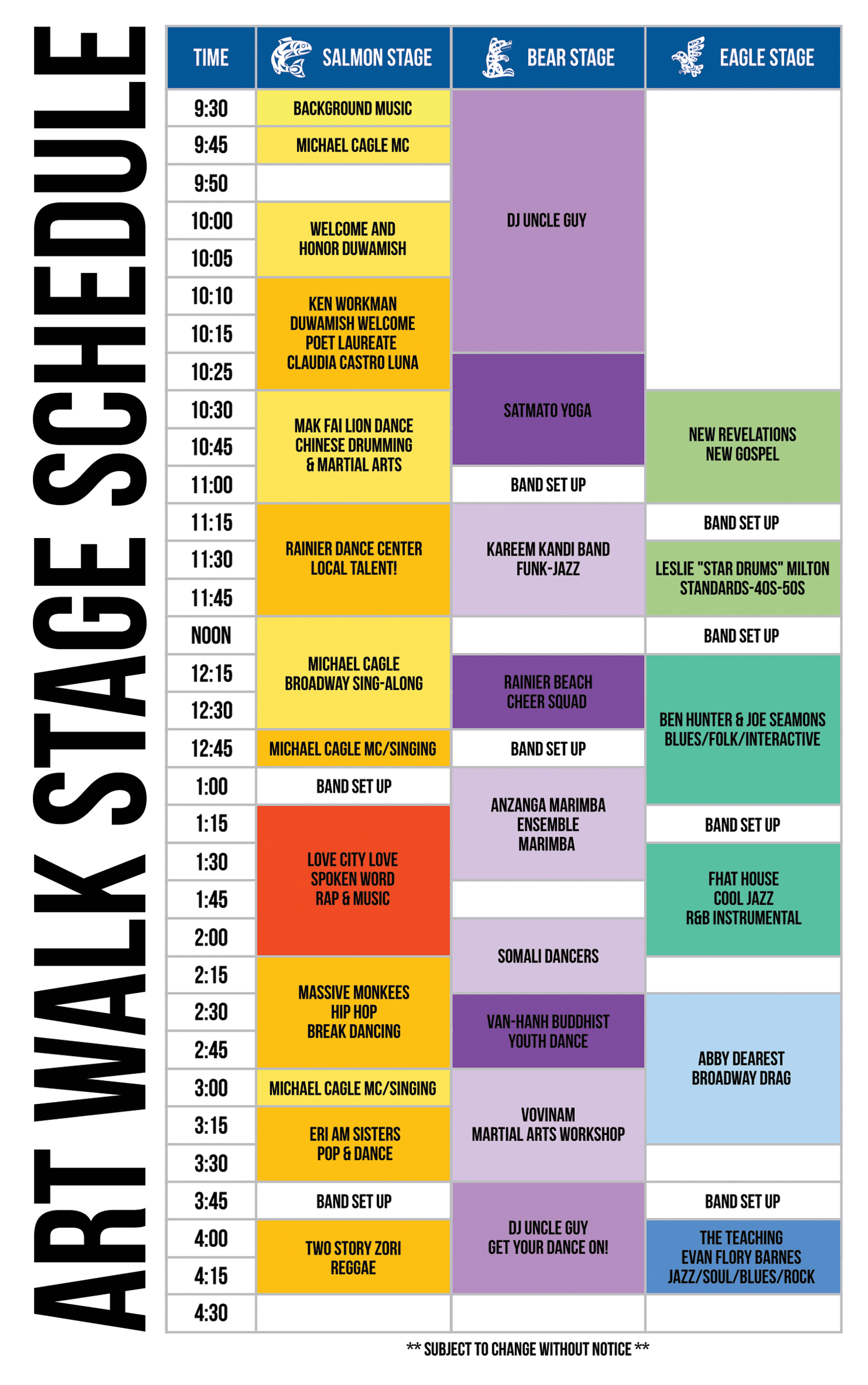 Art Walk Rainier Beach 2015 Schedule