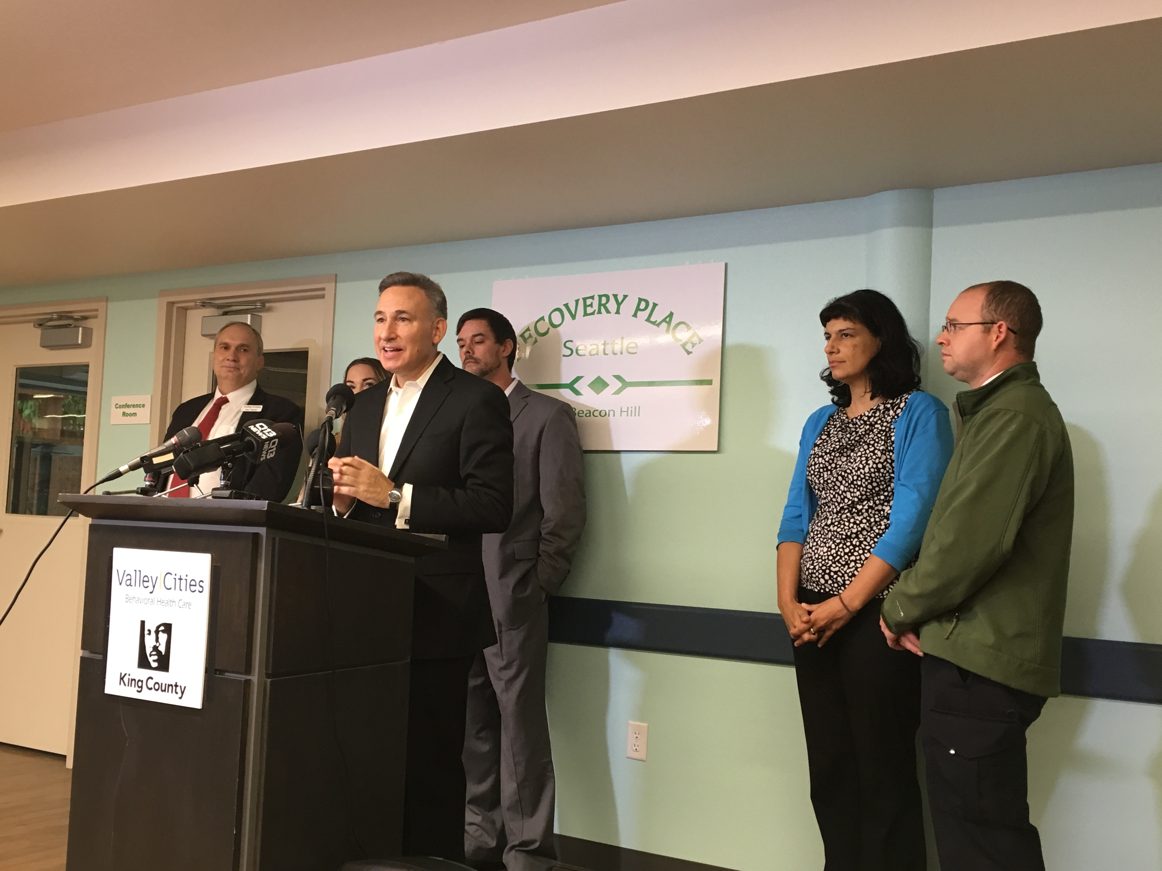 Image 1 Caption--King County Executive Dow Constantine delivers remarks at the open house Thursday.