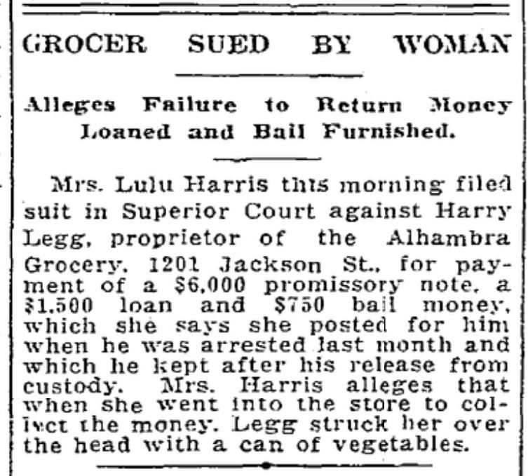 1922 - HARRY LEGG - Grocer sued by woman, Seattle Daily Times, June 14, Page 19
