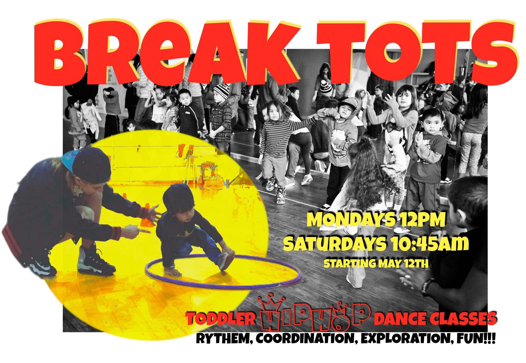 Massive Monkees Beacon Studio - Break Tots Promo; Breakdancer teaches a small child to break, kids in class behind dance